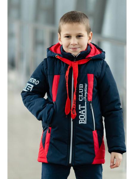 Куртка БОНО демисезонная д/мал (синий/красный)