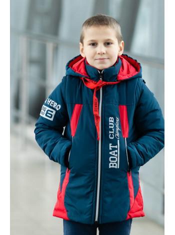 Куртка 7924 БОНО демисезонная д/мал (красный/джинс)