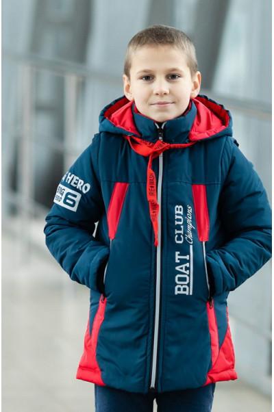 Куртка БОНО демисезонная д/мал (красный/джинс)