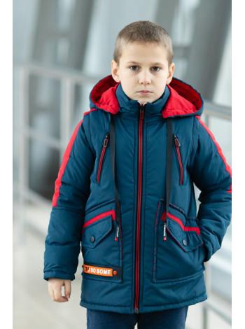 Куртка 7929-2 СМАРТ демисезонная д/мал (джинс/красный)