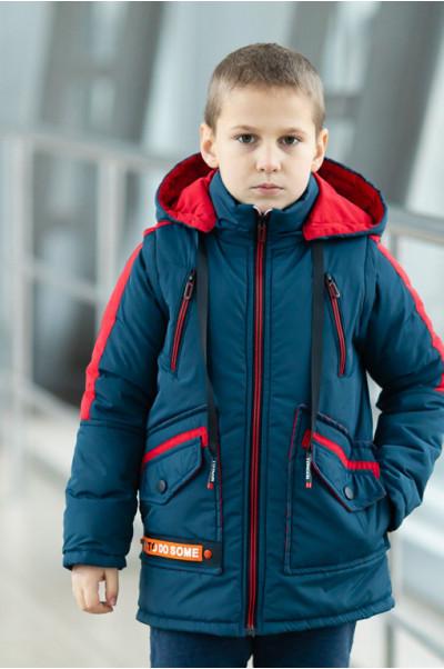 Куртка СМАРТ демисезонная д/мал (джинс/красный)
