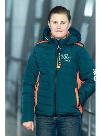 Куртка 7932-1 ФРЭНСИС демисезонная д/мал (бутылочный/оранжевый)