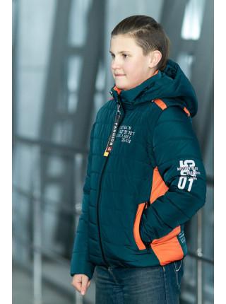 Куртка ФРЭНСИС демисезонная д/мал (бутылочный/оранжевый)