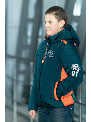 Куртка-жилет ФРЭНСИС демисезонная д/мал (бутылочный+оранжевый)