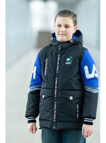 Куртка 7933-2 ФЛИП демисезонная д/мал (черный/электрик)