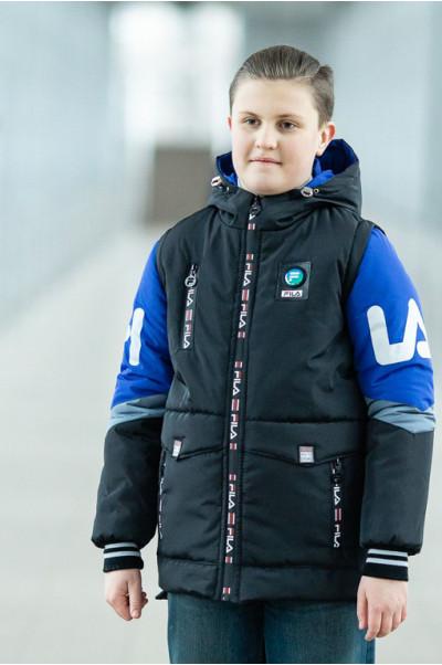 Куртка ФЛИП демисезонная д/мал (черный/электрик)