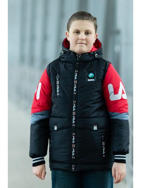 Куртка ФЛИП демисезонная д/мал (черный/красный)