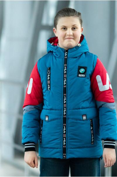 Куртка ФЛИП демисезонная д/мал (голубой/красный)