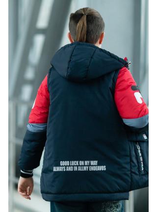 Куртка-жилет ФЛИП демисезонная д/мал (т.синий+красный)
