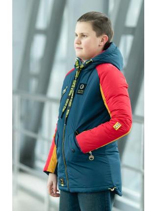 Куртка СЭМЮЭЛ демисезонная д/мал (джинс+желтый+красный)
