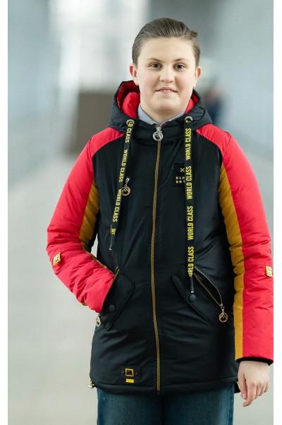 Куртка СЭМЮЭЛ демисезонная д/мал (черный/желтый/красный)