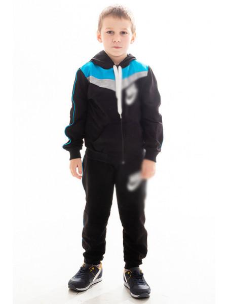 Детский спорт.костюм АВЕНИР д/мальч. (черный+голубой)