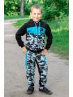 1689-1 Костюм спортивный ФЛИ д/мальч.(черный/голубой)