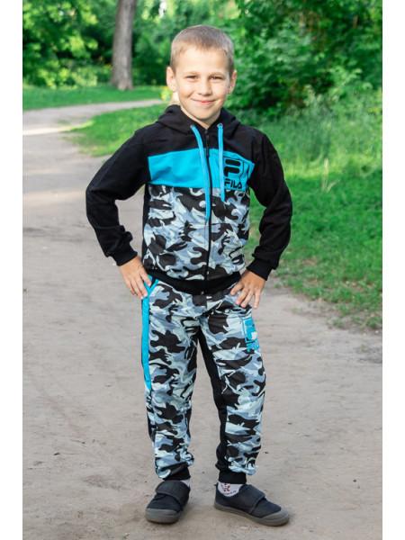 Костюм спортивный ФЛИ д/мальч.(черный/голубой)