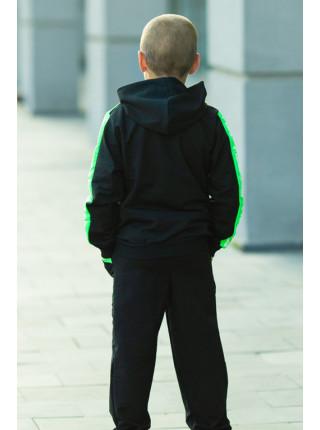 Подростковый спортивный костюм МОНК д/мальч. (черный+салатовый)