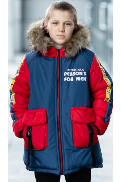 Зимняя куртка ПРЕСТОН д/мальч. (джинс+красный)