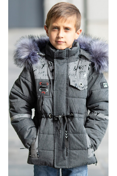 Зимняя куртка ФУНТИК д/мальч. (серый/светоотр.вставки)
