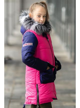 Зимняя куртка ДЕЛИЯ д/дев. (малина+синий)