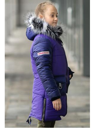 Зимняя куртка ДЕЛИЯ д/дев. (фиолетовый+синий)