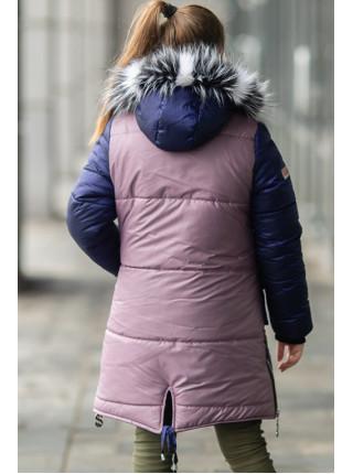Зимняя куртка ДЕЛИЯ д/дев. (пудра+синий)