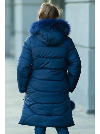 Зимнее пальто ДАЯНА д/дев (т.синий)
