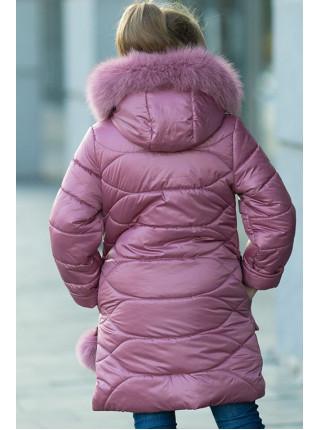Зимнее пальто ДАЯНА д/дев (т.пудра)