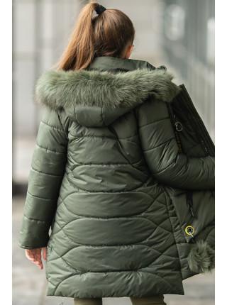 Зимнее пальто ДАЯНА д/дев (хаки)
