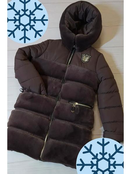Зимняя куртка АВРОРА д/дев. (черный шоколад)