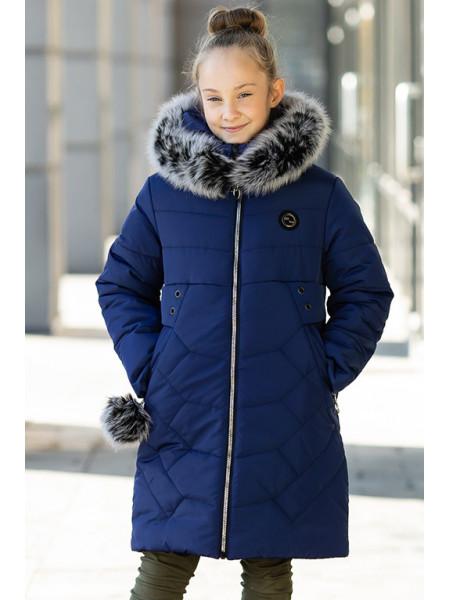 Зимняя куртка КАРИНА д/дев. (т.синий)