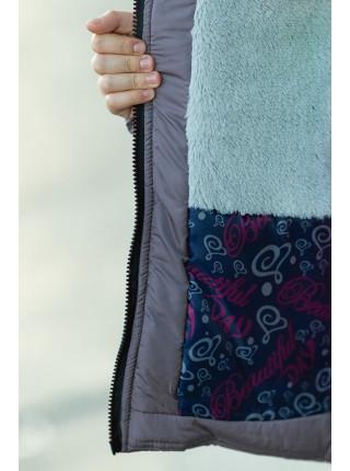 Зимнее пальто Ирада д/дев+снуд в комплекте (серый)