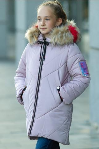 Зимнее пальто Ирада д/дев+снуд в комплекте (холодная пудра)