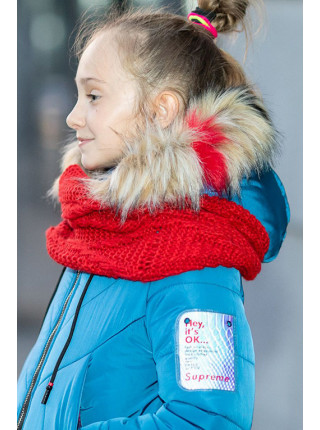 Зимнее пальто Ирада д/дев+снуд в комплекте (голубой)