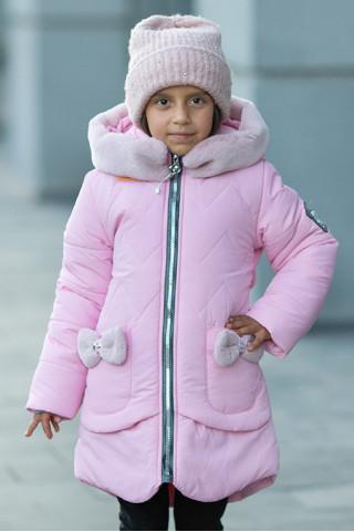 Зимняя куртка ДИЛЯ д/дев. с шарфом в комплекте (св.розовый)