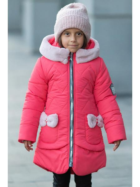 Зимняя куртка ДИЛЯ д/дев. с шарфом в комплекте (коралловый)