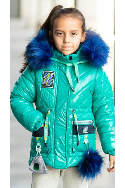 Зимняя куртка+маска ЛАВИ д/дев. (бирюзовый)