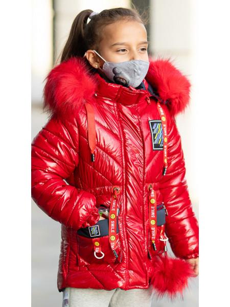 Зимняя куртка+маска ЛАВИ д/дев. (красный)