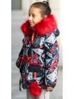Зимняя куртка+маска ЛАВИ д/дев. (красный/абстракция)