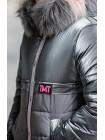 Зимняя куртка БЛЕСК д/дев. (серый/розовый)
