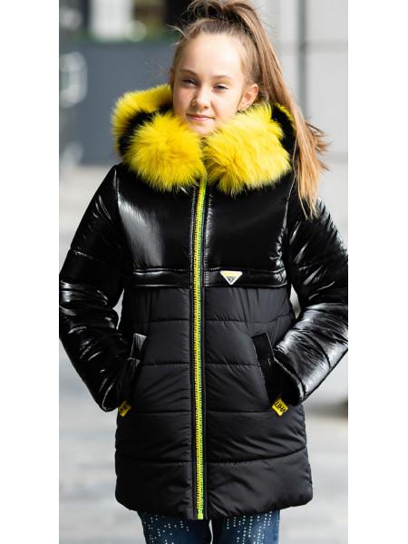 Зимняя куртка БЛЕСК д/дев. (черный/желтый)