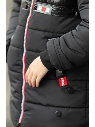 Зимняя куртка БЛЕСК д/дев. (черный/красный)