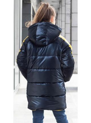 Зимняя куртка БАРХАТ д/дев. (т.синий)