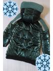 Зимняя куртка Аглая для девочки в темно-зеленом цвете