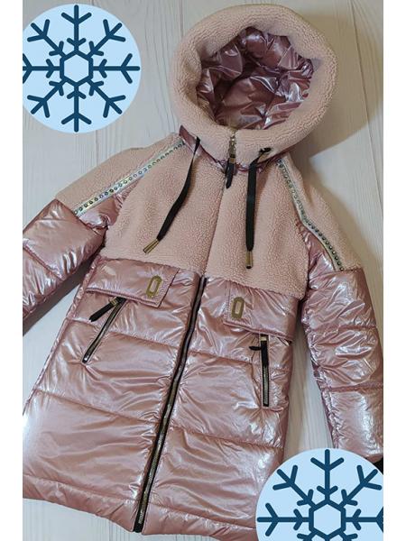 Зимняя куртка Аглая для девочки (пудра)