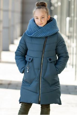 Зимнее пальто МАЛУША д/дев.+снуд (джинс)