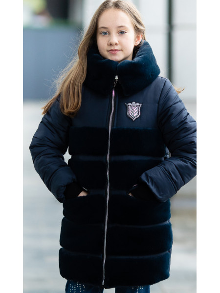 Зимняя куртка АВРОРА д/дев. (т.синий)