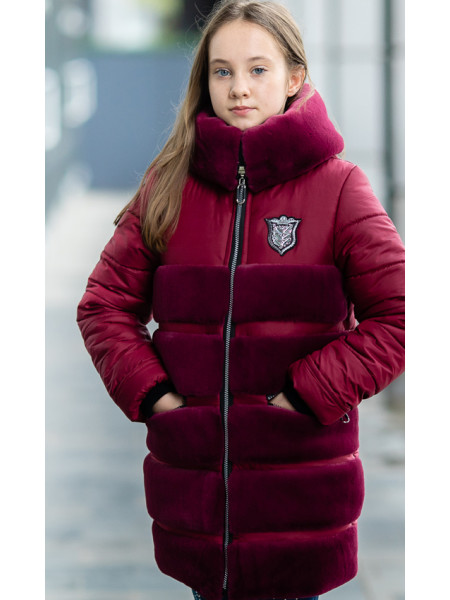 Зимняя куртка АВРОРА д/дев. (бордовый)