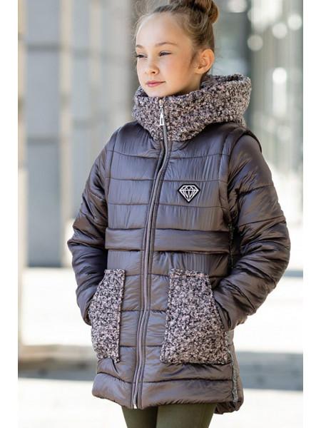 Куртка-жилет РОКСАНА демисезонная д/дев. (капучино)