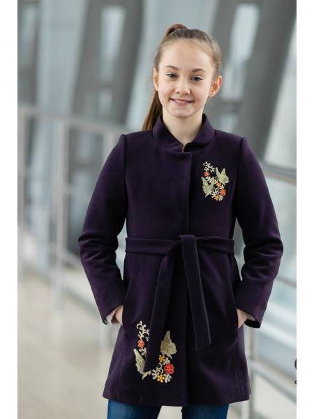 Пальто АГАТА демисезонное(темно-фиолетовый)