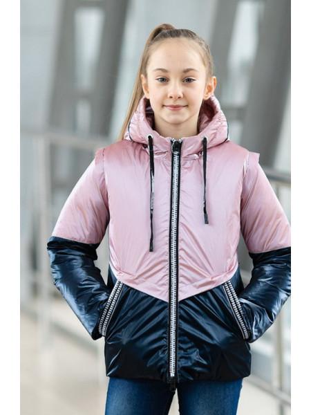 Куртка БЛЭР демисезонная (пудра/синий)