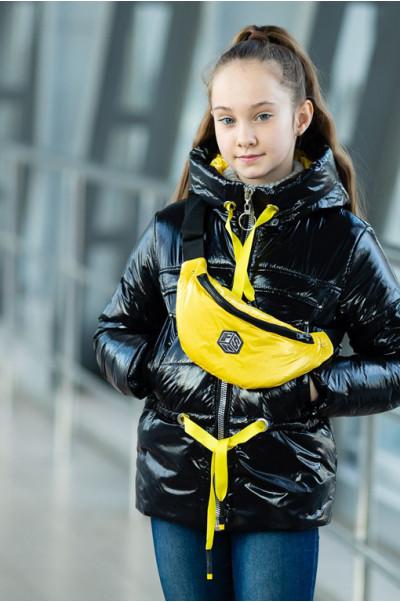 Куртка БЕРРИ демисезонная (черный лак/желтый)